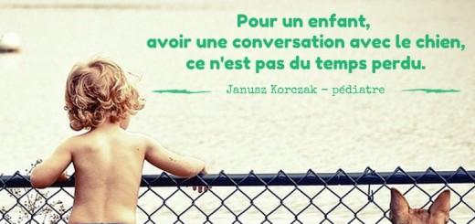 Pour un enfant, avoir une conversation avec le chien n'est pas du temps perdu