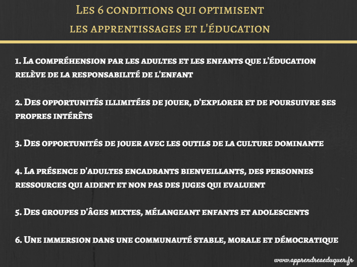 conditions de l'apprentissage