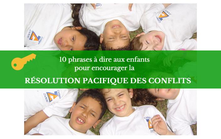 résolution pacifique des conflits enfants