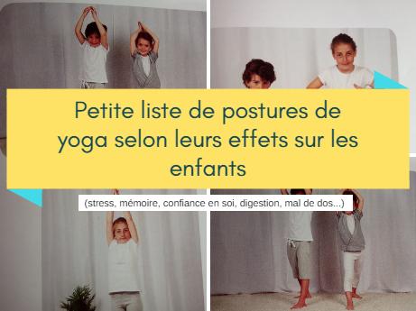 petite liste de postures de yoga selon leurs effets sur les enfants. Black Bedroom Furniture Sets. Home Design Ideas