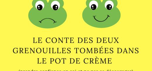Le conte des deux grenouilles tombées dans le pot de crème