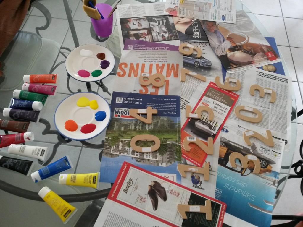 atelier peinture jeu pour compter d'inspiration Montessori