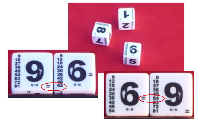 les dés de multiplication
