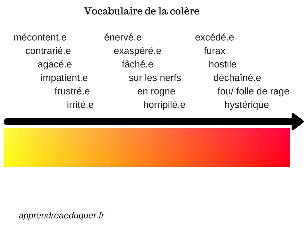 tableau vocabulaire colère