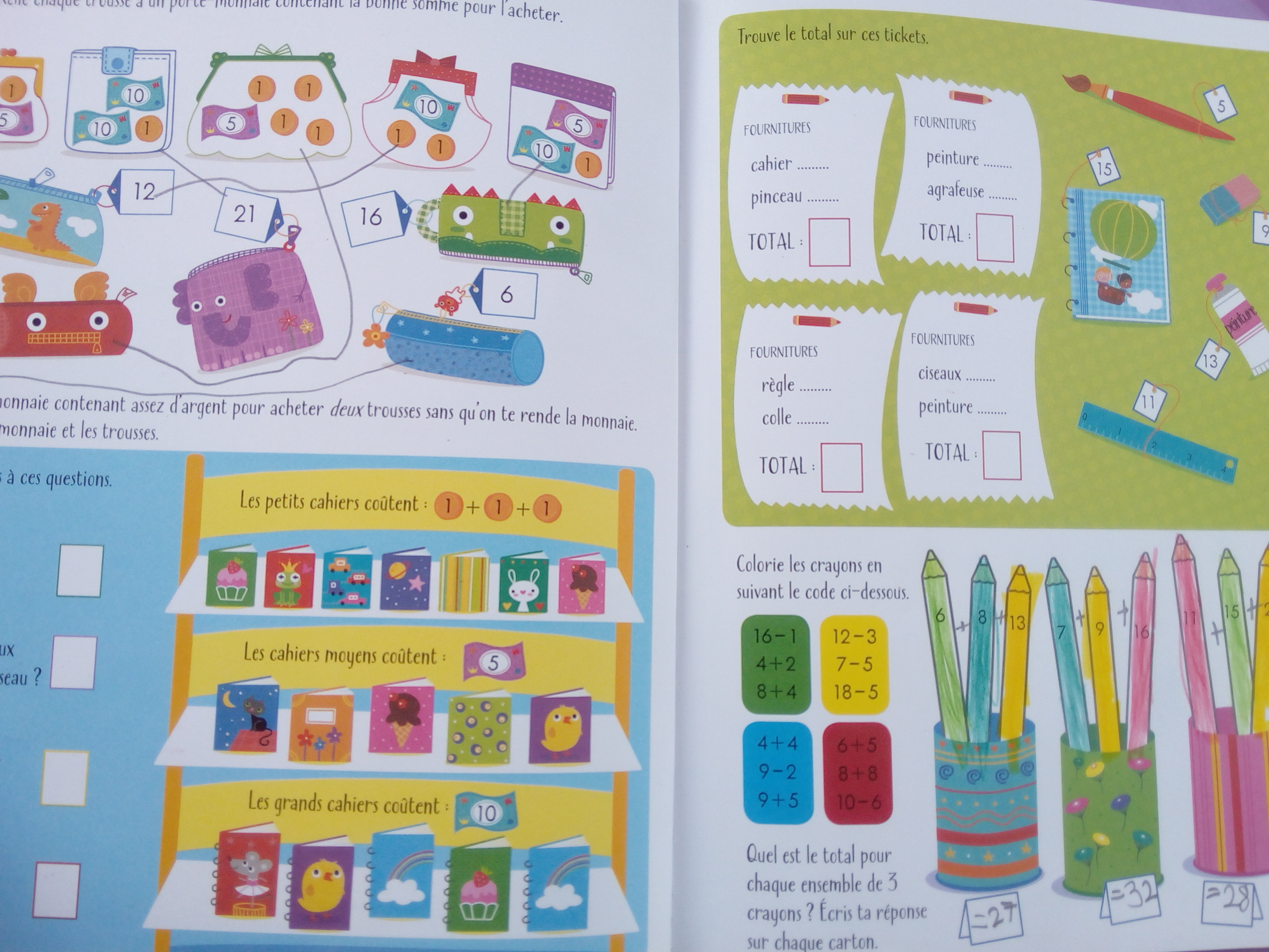 cahier enfants additions soustractions