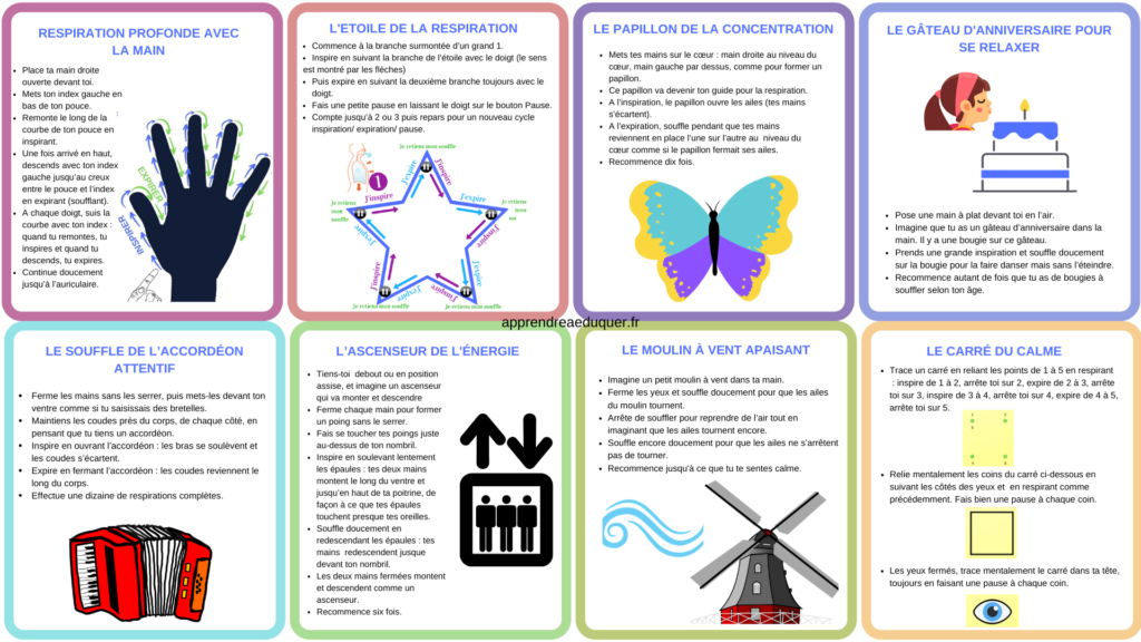 cartes exercices respiration enfants