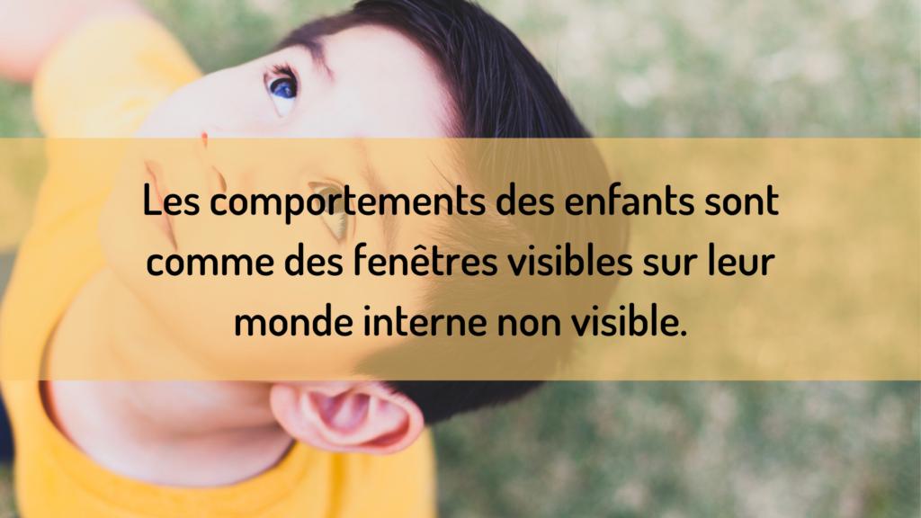 Les comportements des enfants sont comme des fenêtres visibles sur leur monde interne non visible.