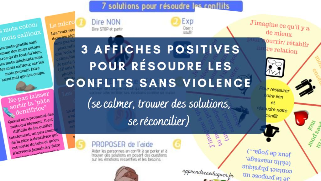 affiches positives pour résoudre les conflits sans violence