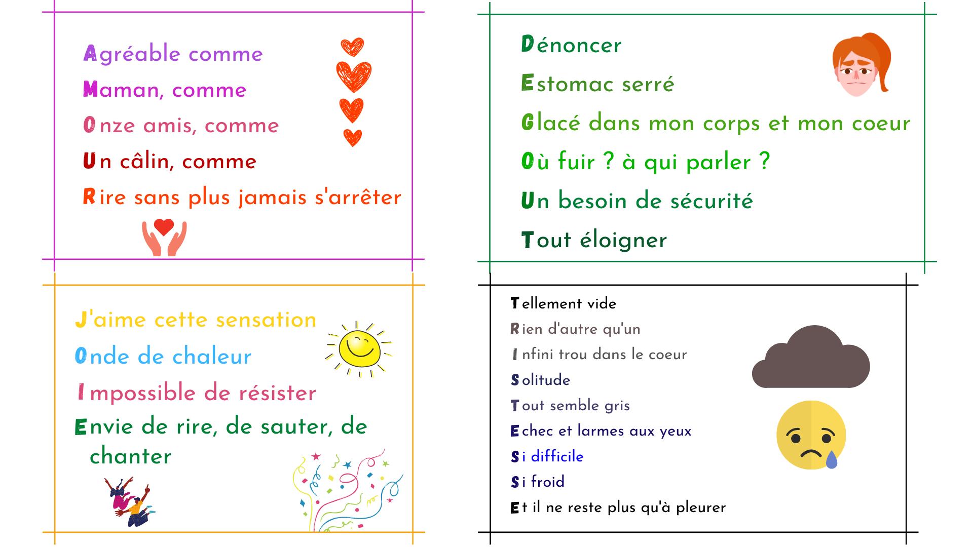 Acrostiches Des émotions écrire Pour Apprivoiser Les émotions Enfants Et Adultes Apprendre à éduquer