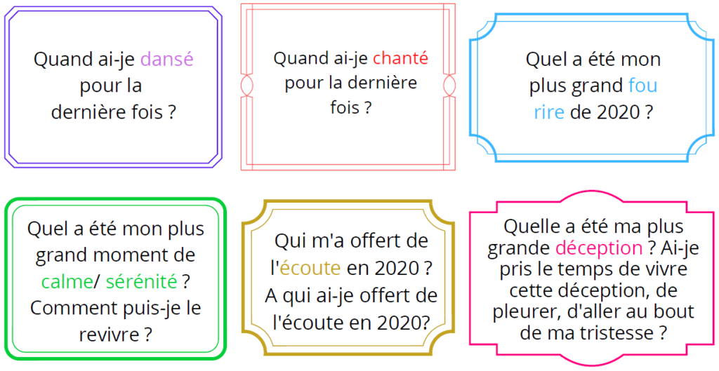 question bilan année 2020